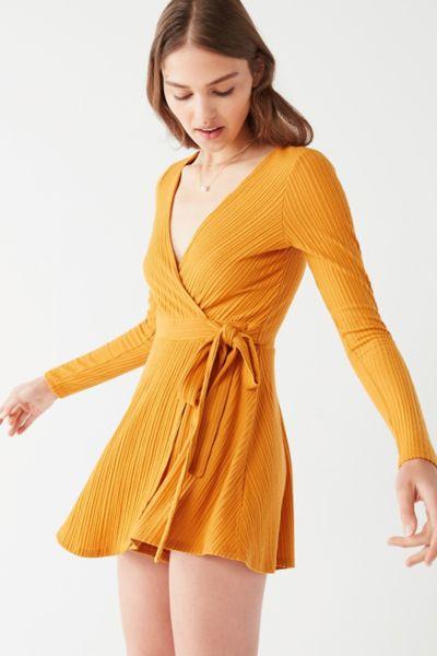 UO Briella Cozy Wrap Romper - Orange XS at Urban Outfitters