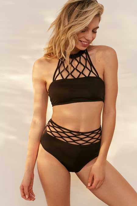 Out From Under Netted Macramé High-Waisted Bikini Bottom