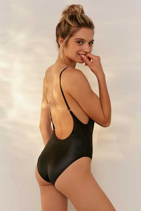 Out From Under Body Chain Black Scoop Back One-Piece Swimsuit