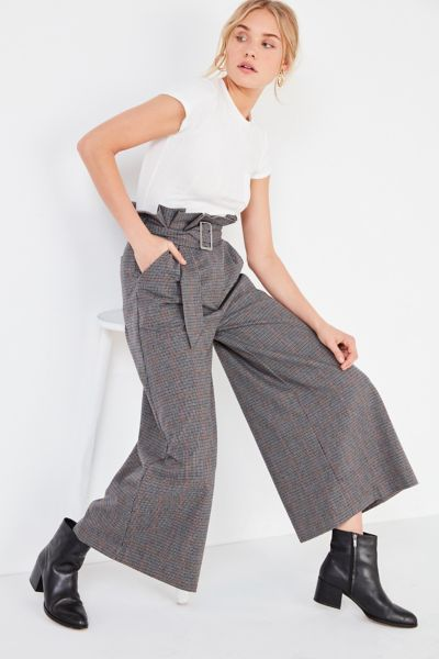 J.O.A. Plaid Paperbag Wide-Leg Pant - Neutral Multi XS at Urban Outfitters