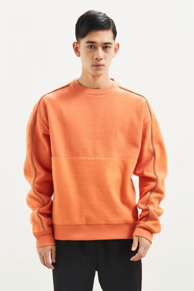 UO Ottoman Block Crew Neck Sweatshirt - Orange S at Urban Outfitters