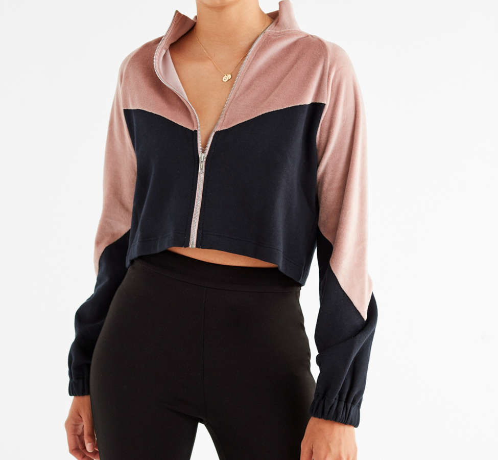 Slide View: 1: UO Colorblock Velour Track Jacket