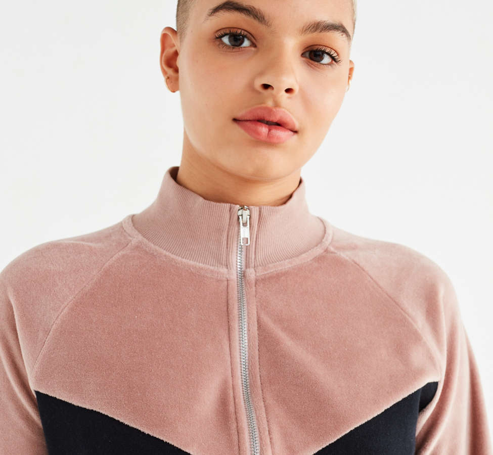 Slide View: 2: UO Colorblock Velour Track Jacket