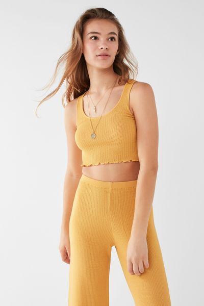 UO Cropped Ribbed Sweater Tank Top - Mustard XS at Urban Outfitters