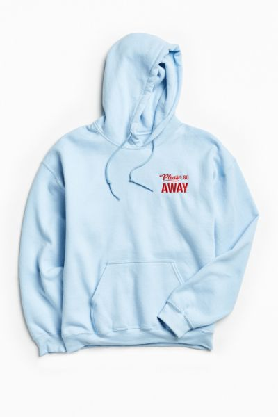 Go Away Embroidered Hoodie Sweatshirt - Sky S at Urban Outfitters