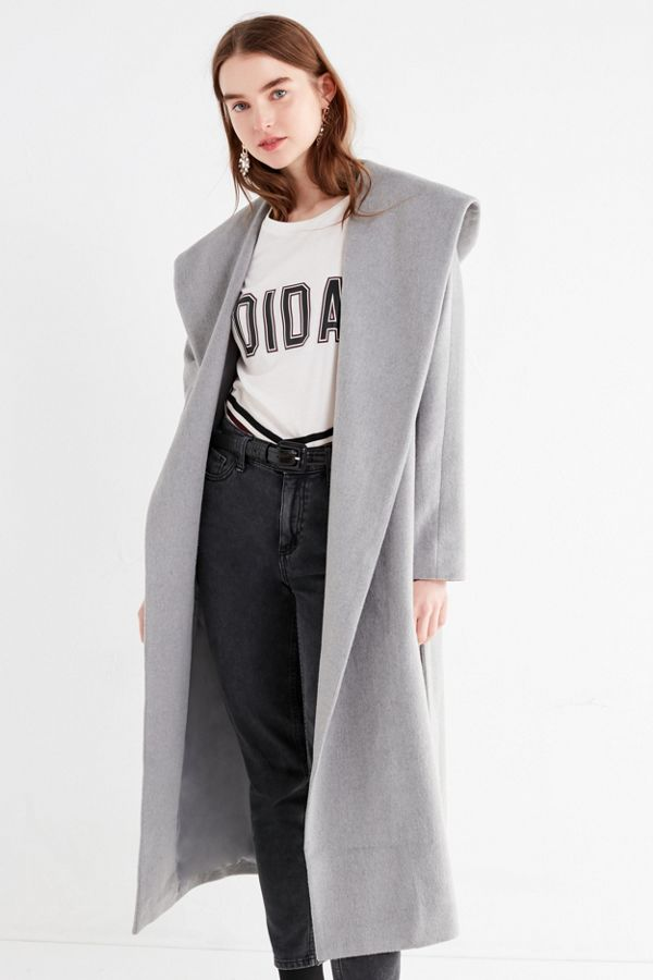uo hooded long wool coat urban outfitters canada