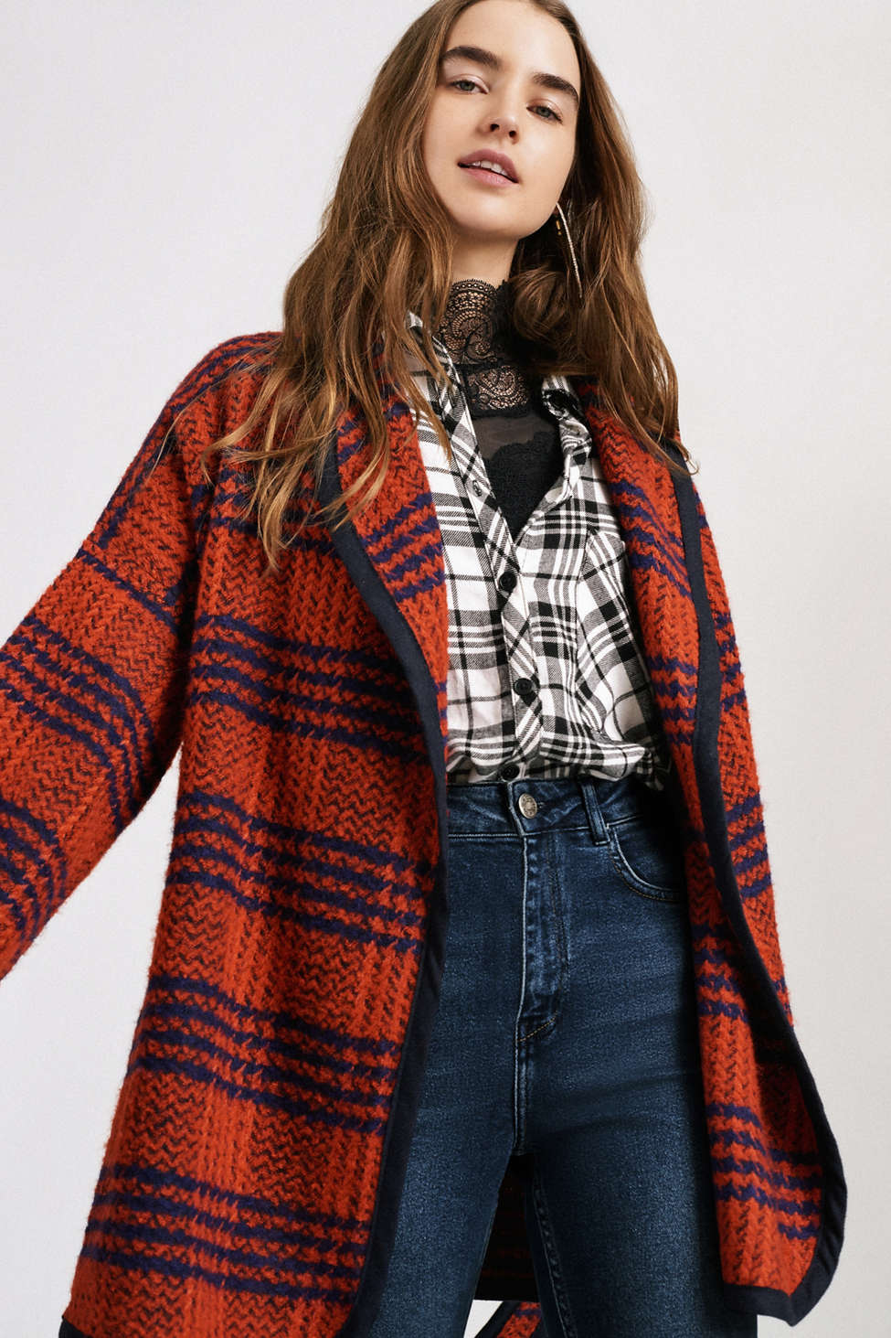 Slide View: 1: UO Blanket Wrap Plaid Coat