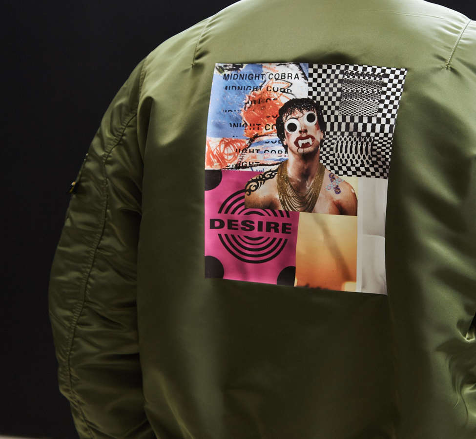 Slide View: 1: Alpha Industries X UO Collage Back Patch Bomber Jacket
