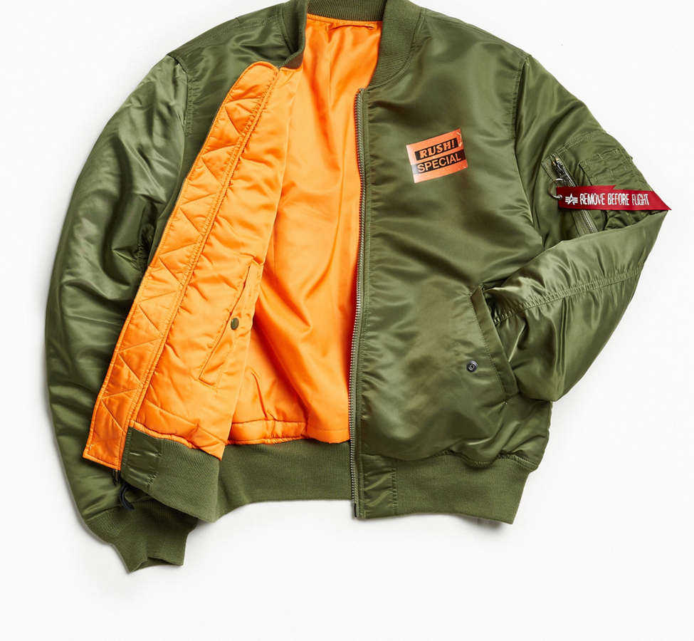 Slide View: 2: Alpha Industries X UO Collage Back Patch Bomber Jacket