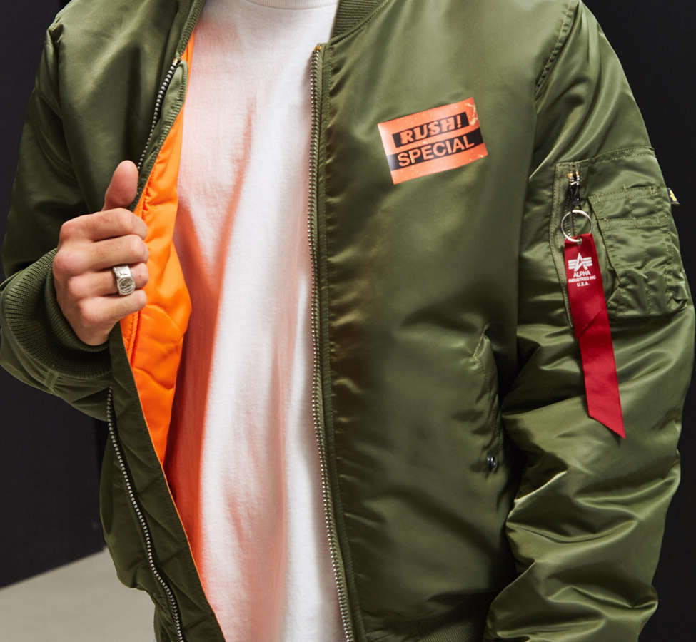 Slide View: 5: Alpha Industries X UO Collage Back Patch Bomber Jacket