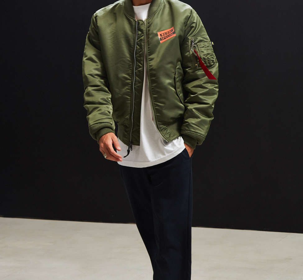 Slide View: 6: Alpha Industries X UO Collage Back Patch Bomber Jacket