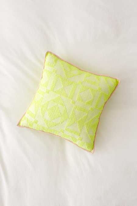 Neon Geo Textured Throw Pillow