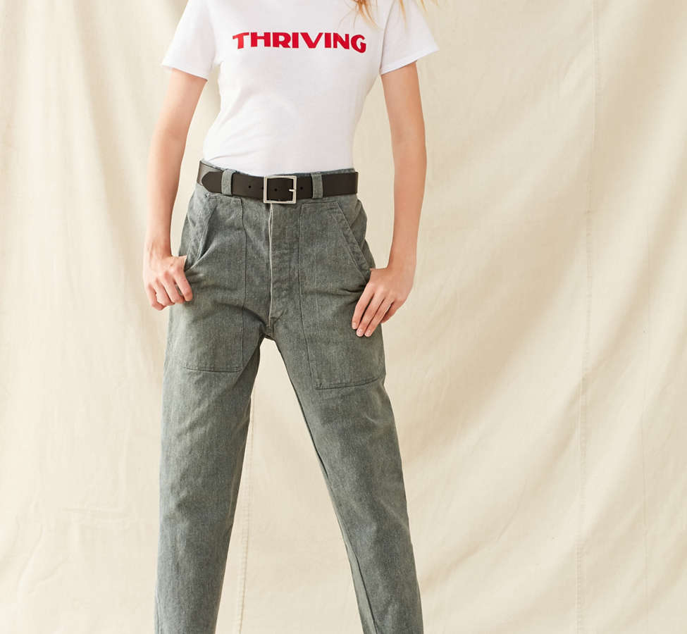 Slide View: 1: Vintage 1950s Cropped Work Pant