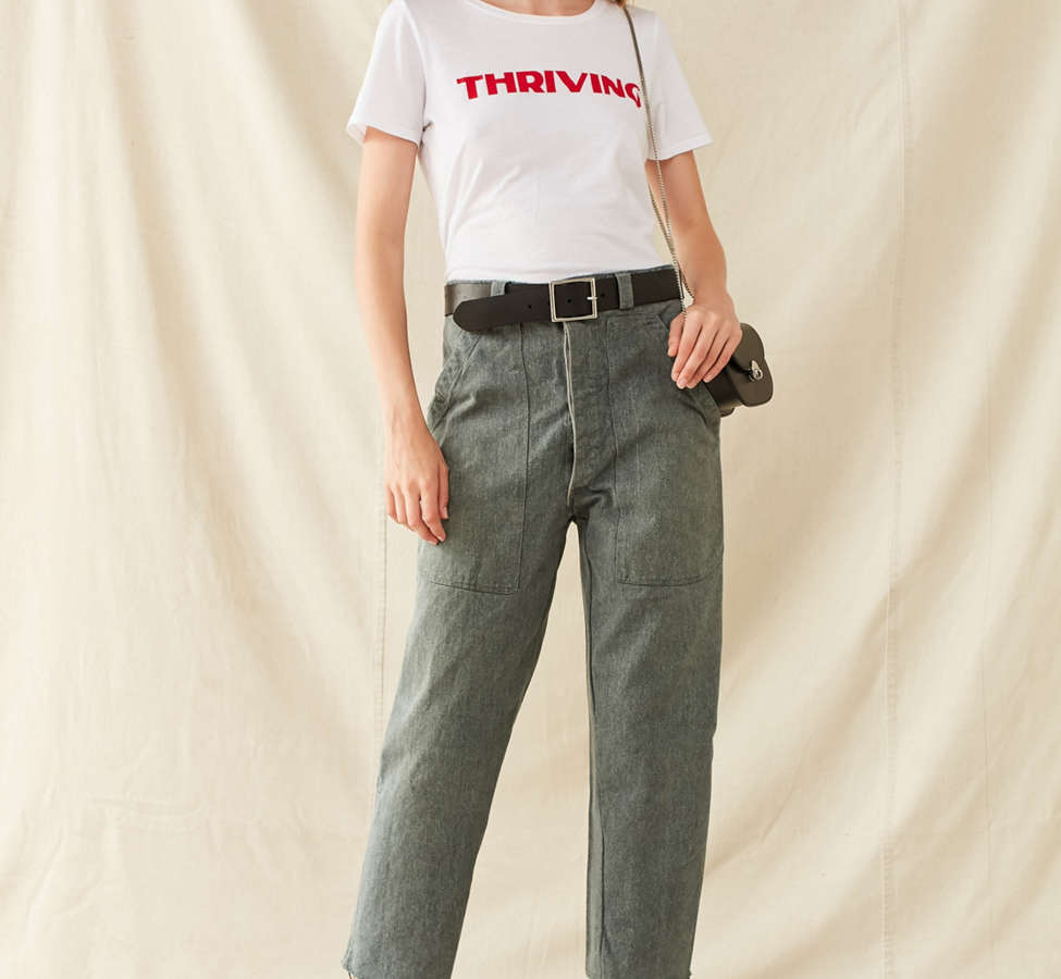 Slide View: 5: Vintage 1950s Cropped Work Pant