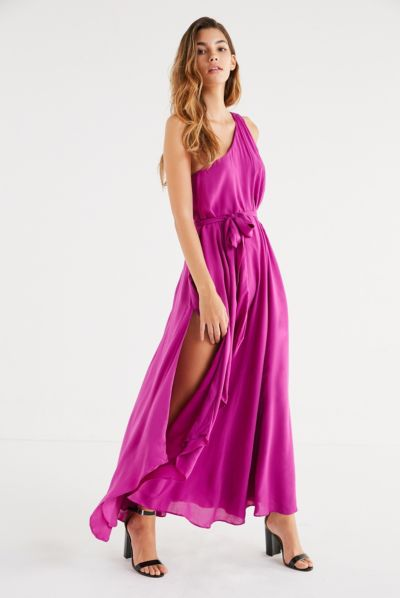 Purple one shoulder maxi dress