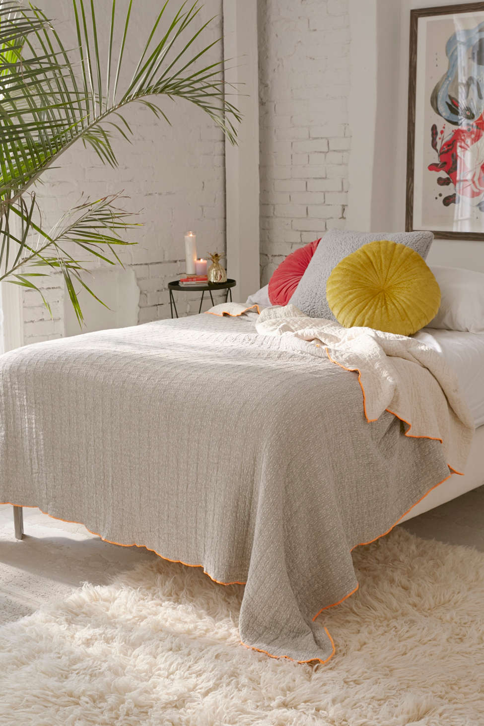 Slide View: 1: Stitched Jacquard Reversible Bed Blanket