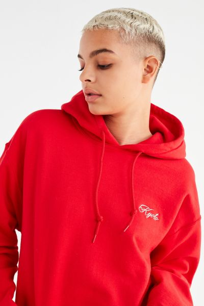 UO Kyoto Embroidered Hoodie Sweatshirt - Red S at Urban Outfitters