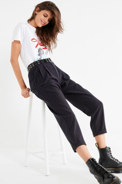 Light Before Dark Pleated Plaid Pant - Navy XS at Urban Outfitters