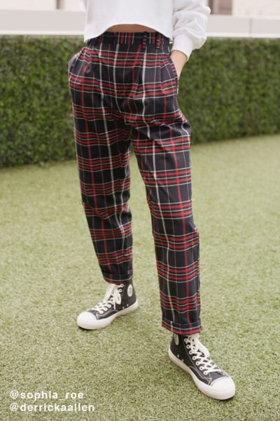 Light Before Dark Pleated Plaid Pant - Blue Multi XS at Urban Outfitters