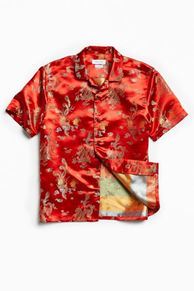 UO Brocade Short Sleeve Button-Down Shirt - Red XS at Urban Outfitters