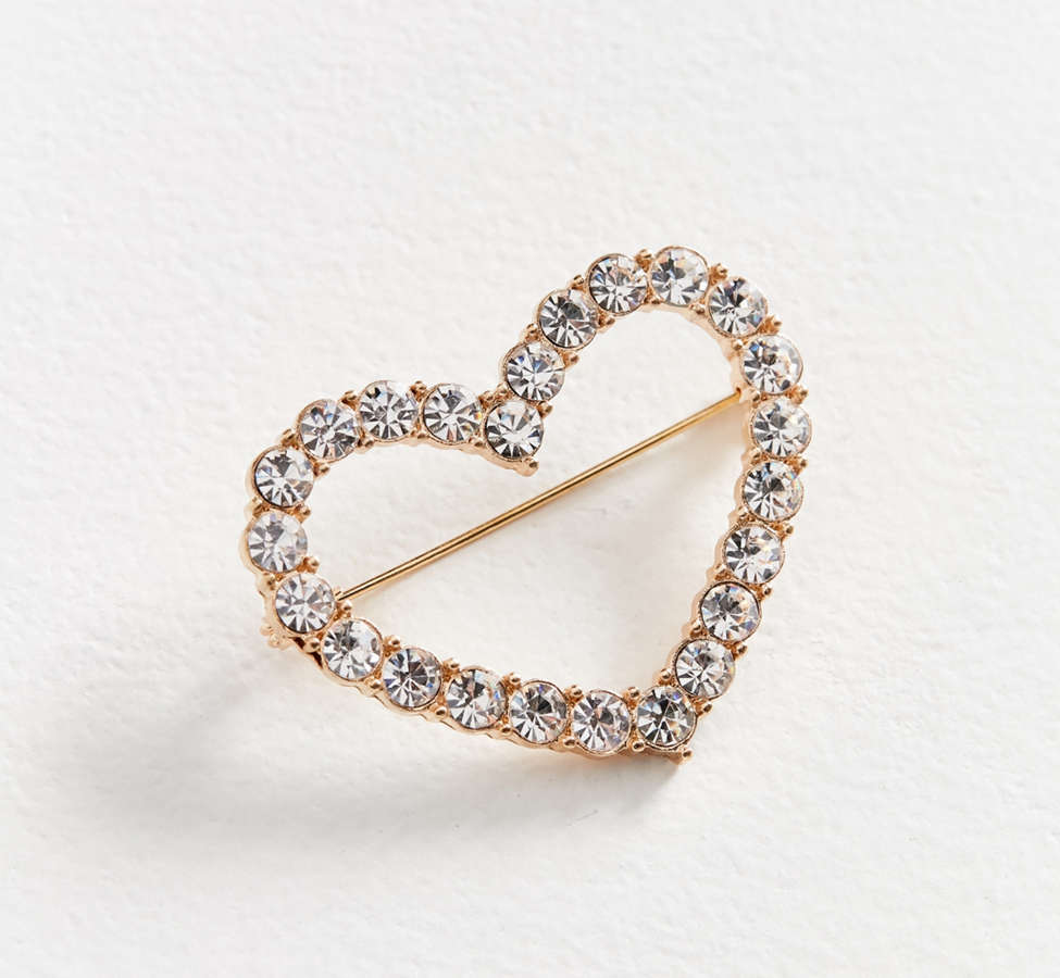 Slide View: 2: Rhinestone Heart Brooch