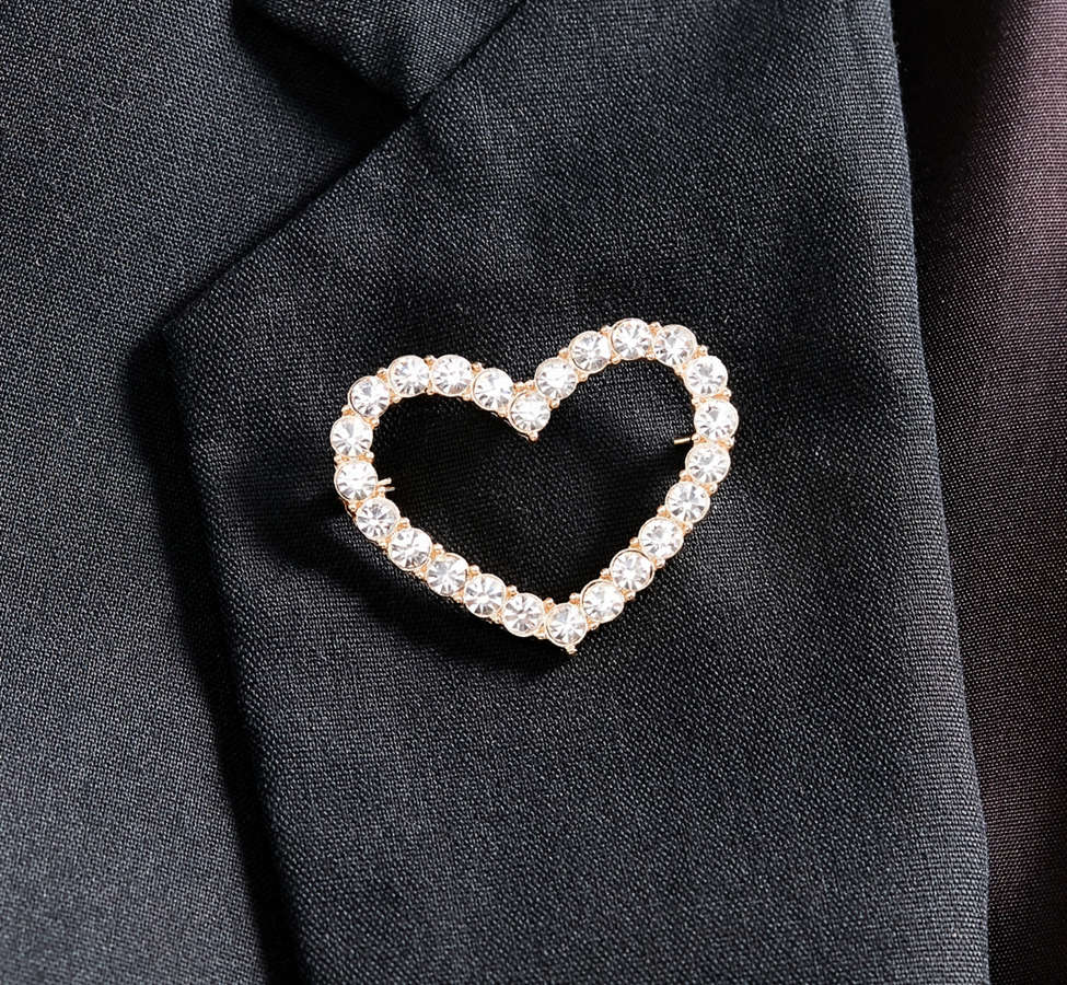Slide View: 3: Rhinestone Heart Brooch