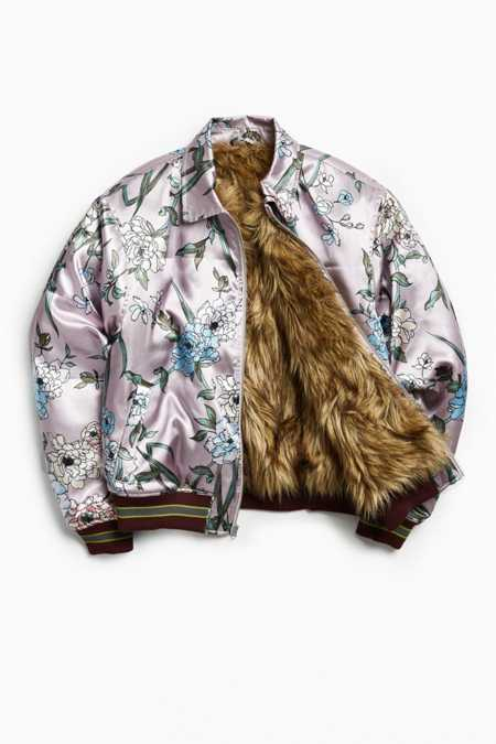 UO Satin Faux Fur-Lined Bomber Jacket