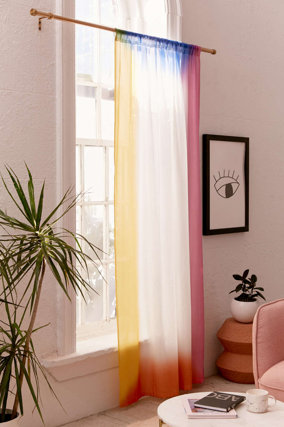 Slide View: 2: Rainbow Airbrush Border Window Curtain
