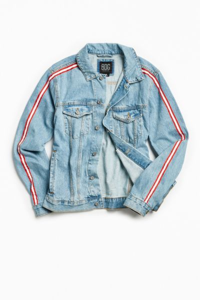 BDG Two-Tone Sidestripe Denim Trucker Jacket - Light Blue XS at Urban Outfitters