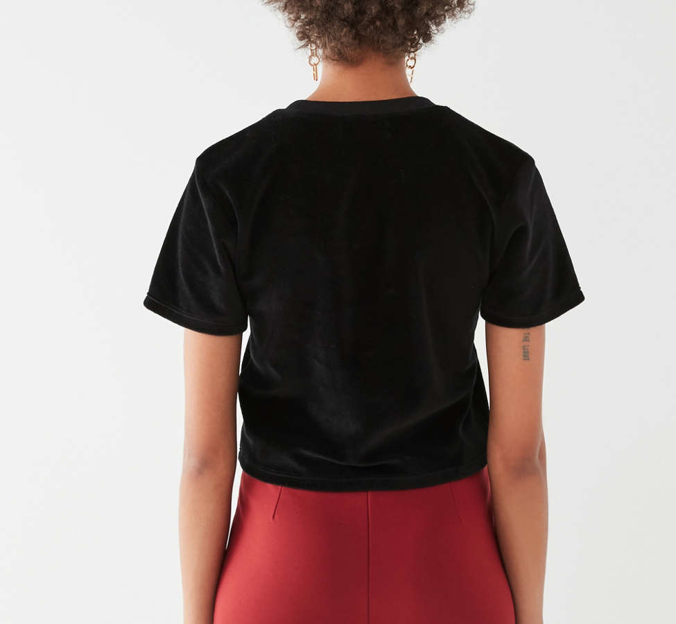 Slide View: 2: UO Embroidered Velvet Tee