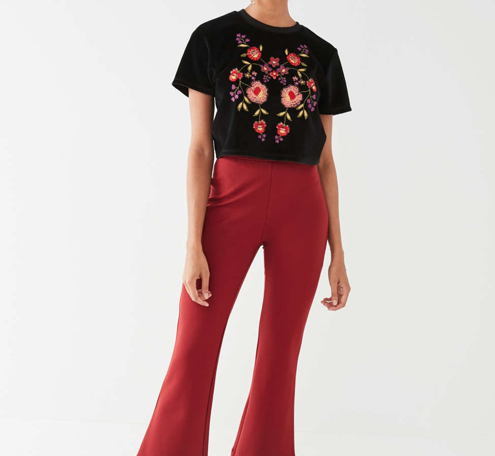 Slide View: 4: UO Embroidered Velvet Tee