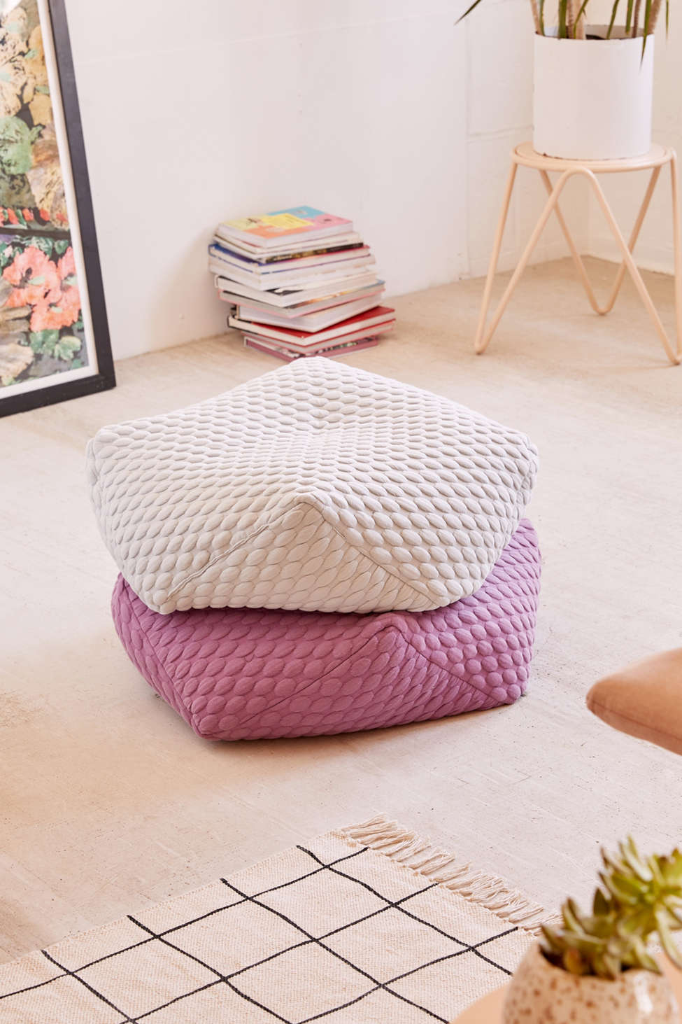 Slide View: 1: Marshmallow Hexagon Floor Pillow
