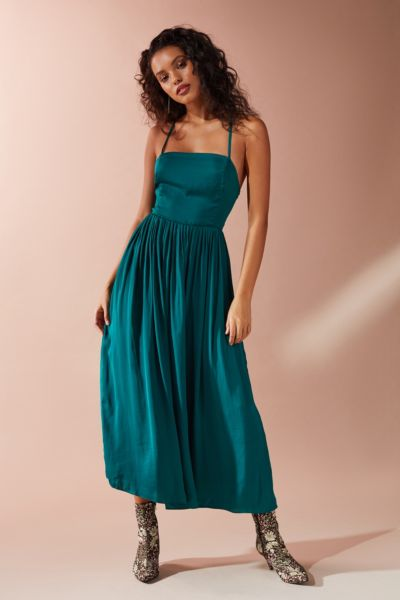 UO Morning Light Satin Midi Dress - Green XS at Urban Outfitters