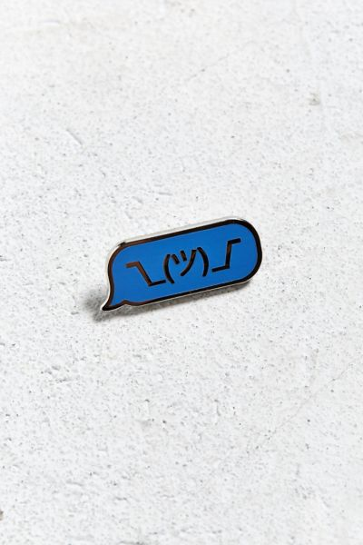 Pintrill Shrug Emoji Pin - Blue One Size at Urban Outfitters