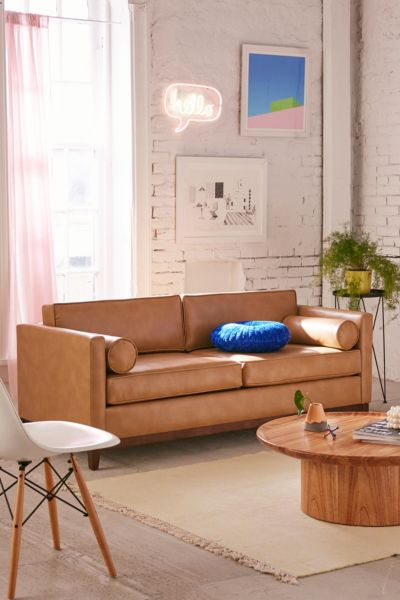 Piper Petite Recycled Leather Sofa Urban Outfitters