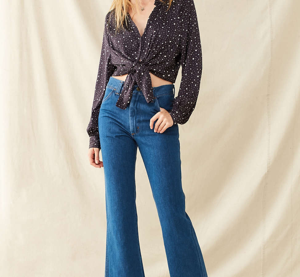 Slide View: 1: Vintage '70s Cropped Kick Flare Jean