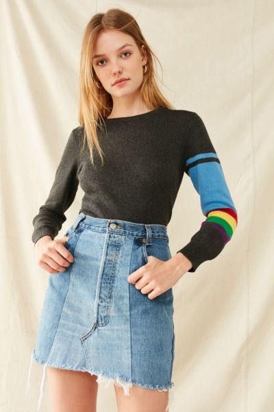 Urban Renewal Recycled Levi's Two-Tone Patched Denim Mini Skirt - Indigo S at Urban Outfitters