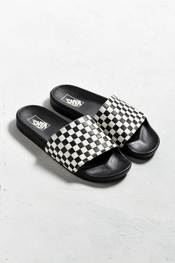 vans checkerboard slide on