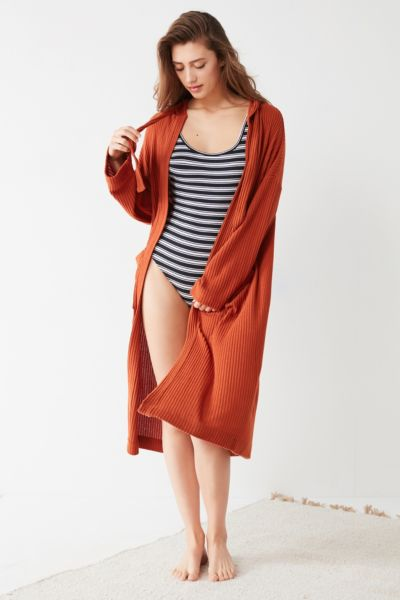 Out From Under Charlie Maxi Hoodie Cardigan - Rust XS at Urban Outfitters