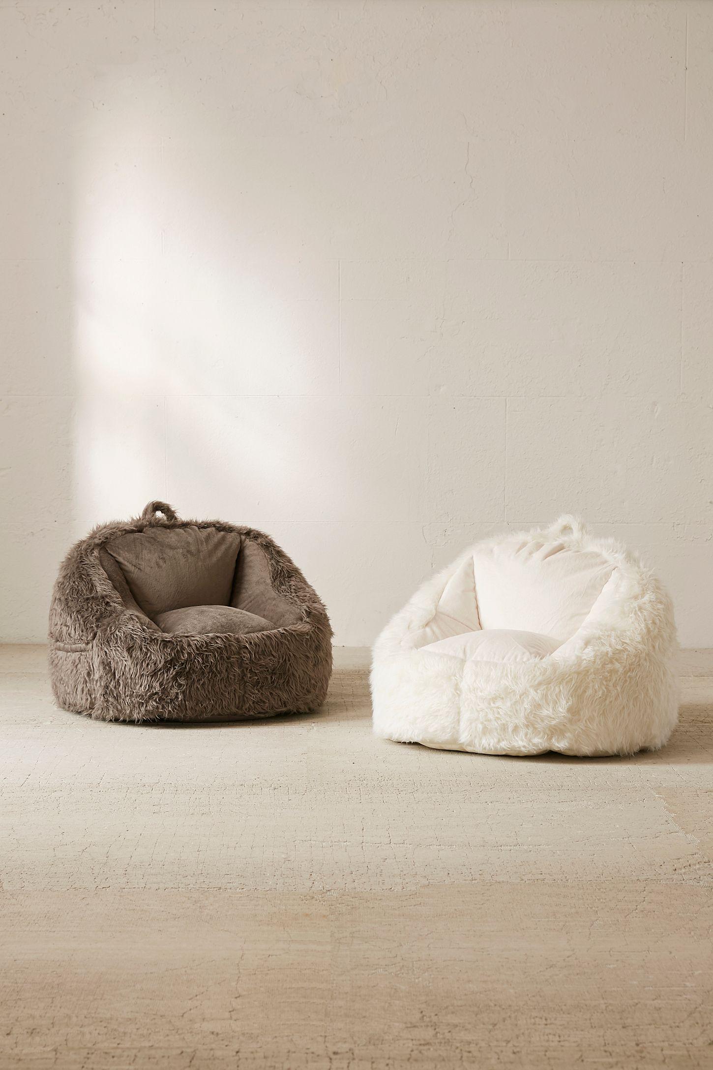 Slide View 6 Faux Fur Electronics Storage Bean Bag Chair