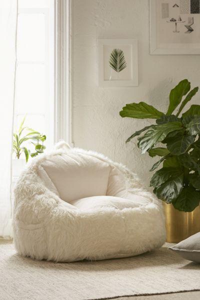 Faux Fur Electronics Storage Bean Bag Chair Urban Outfitters