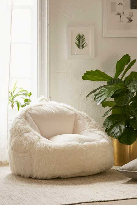 Faux Fur Electronics Storage Bean Bag Chair