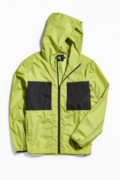 Stussy Nylon Panel Windbreaker Jacket - Lime S at Urban Outfitters
