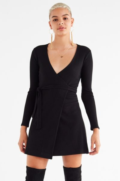 UO Ribbed Knit Mini Wrap Dress - Black XS at Urban Outfitters