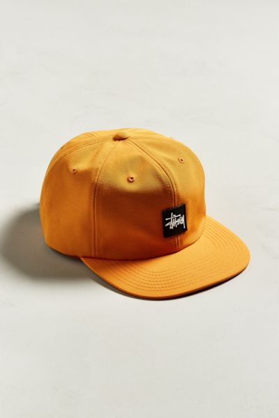 Stussy Stock Rubber Patch Baseball Hat - Orange One Size at Urban Outfitters