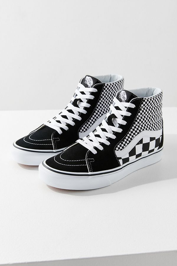 vans sk8 hi checkerboard black white