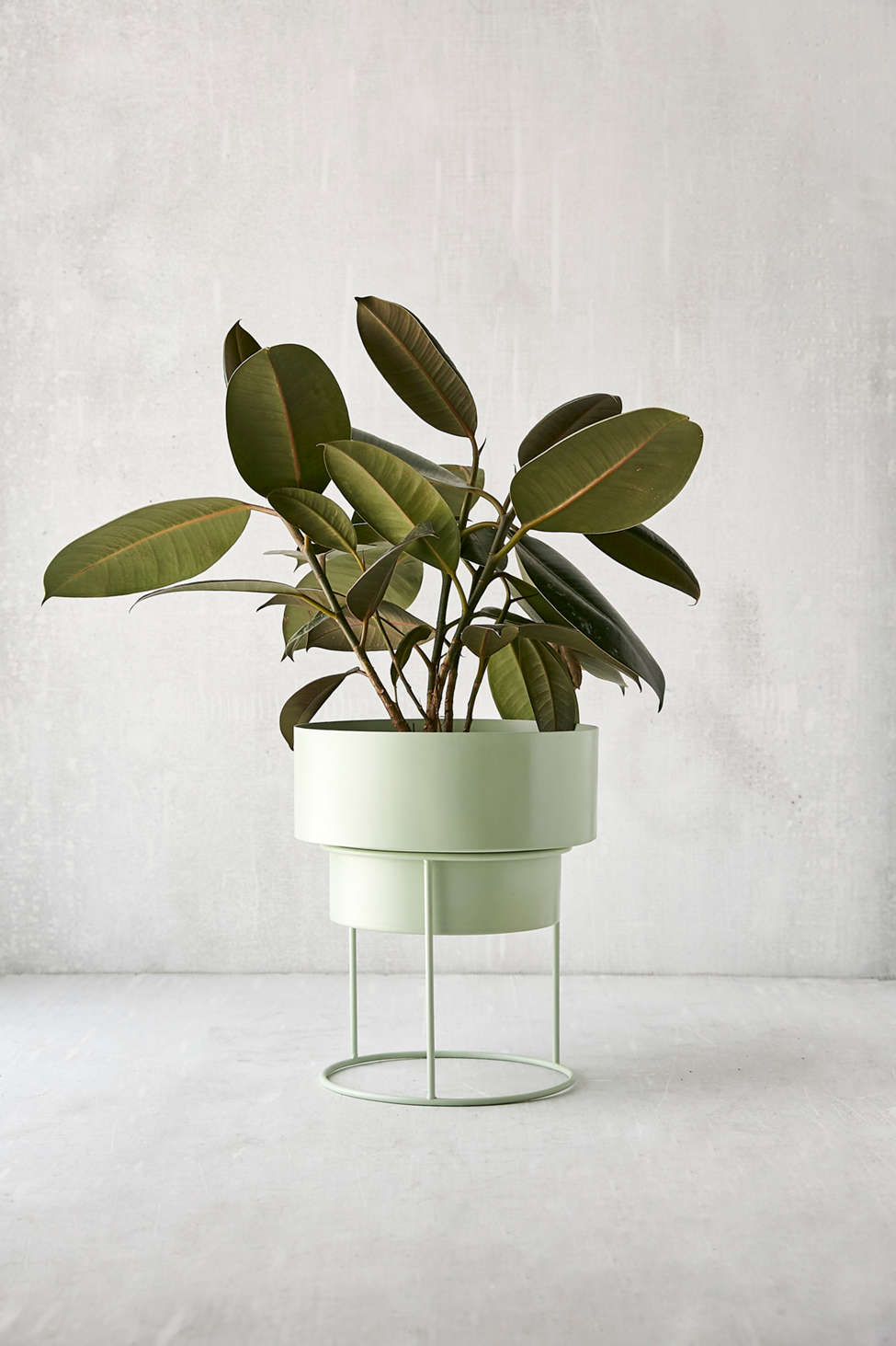 "Slide View: 1: Noa 8"" Metal Planter + Stand"