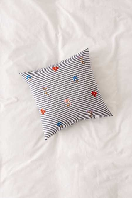 Embroidered Bouquet Stripe Pillow