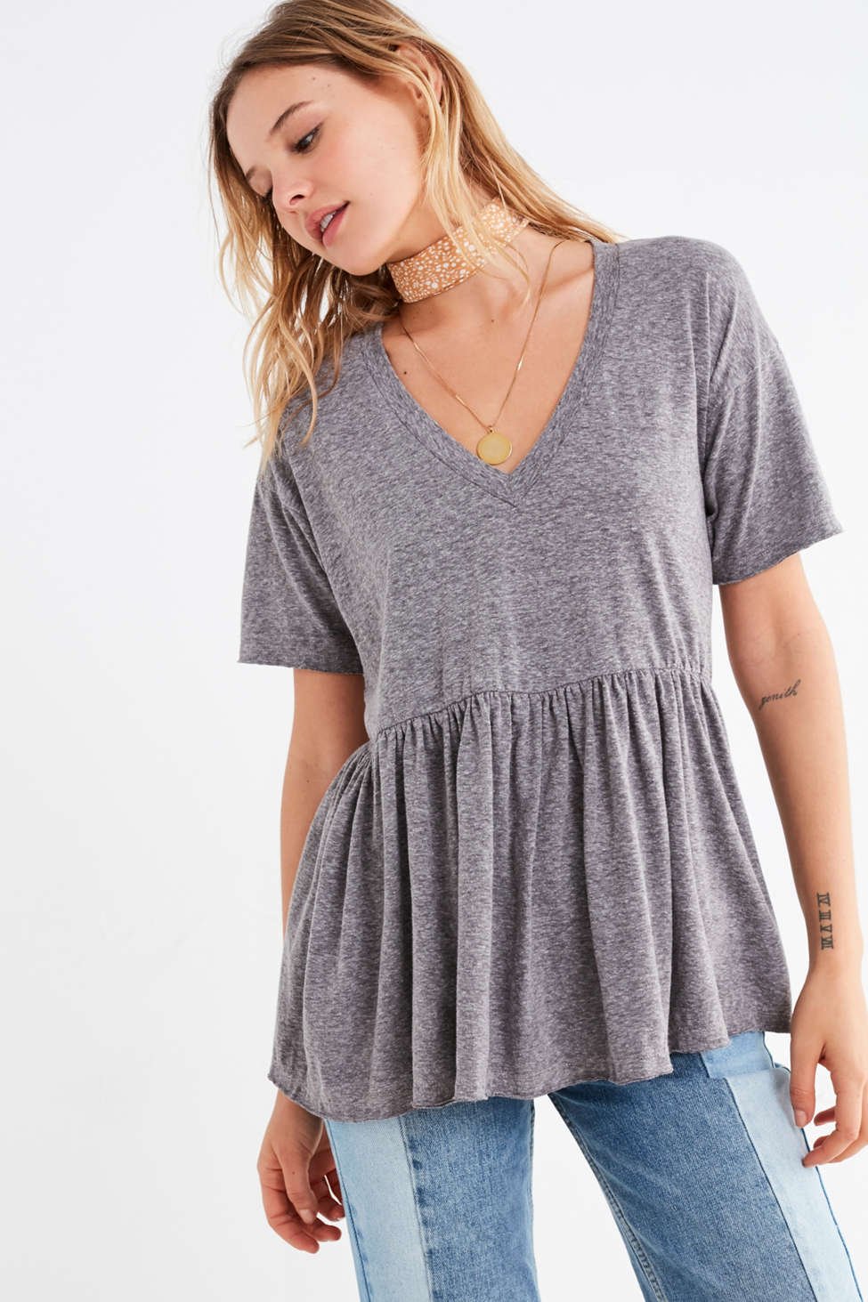 Slide View: 1: Truly Madly Deeply V-Neck Babydoll Tee