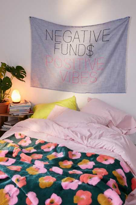 Amber Ibarreche X UO Negative Funds Positive Vibes Embroidered Tapestry